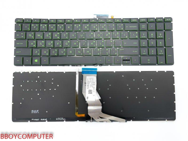 HP Keyboard คีย์บอร์ด  HP 15-CB 15-BS 15-BW อักษรสีเขียว TH-EN